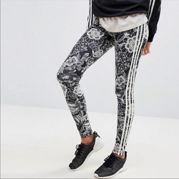 90ee5695991d5 adidas Pants | Florido Farm Floral Print 3stripe Legging | Poshmark